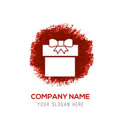 christmas gift box icon - red watercolor circle vector image