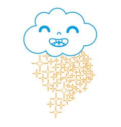 Color line happy cloud kawaii with stars rainbow vector