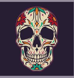 Colorful sugar skull template vector