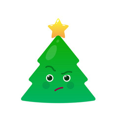 Critical christmas tree isolated emoticon vector