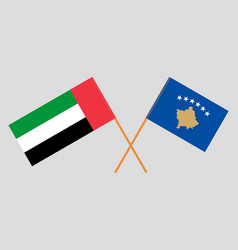 Crossed flags kosovo and united arab vector