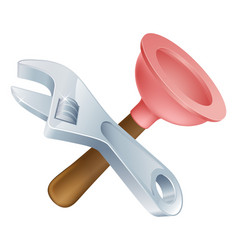 crossed spanner and plunger tools vector image
