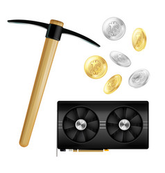 crypto currency mining realistic icons vector image