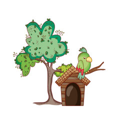 cute animals parrots in branch tree cartoon vector image