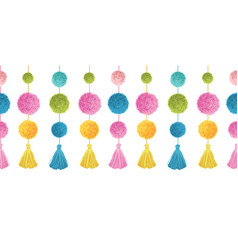 Cute colorful birthday party pom poms and vector