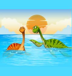 Dinosaur swimming in the ocean vector