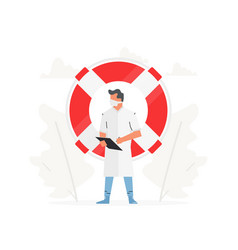 Doctor stands in front a large life buoy vector