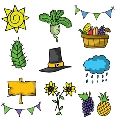 Doodle of fruit element thanksgiving vector