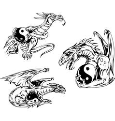 Dragon tattoos with yin-yang signs vector