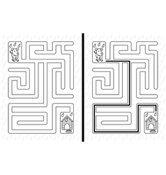 Easy dog maze vector image