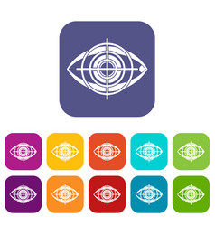 Eye and target icons set vector