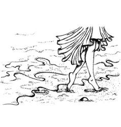 Female legs walking on beach vector