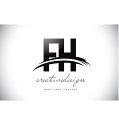 fh f h letter logo design with swoosh and black vector image