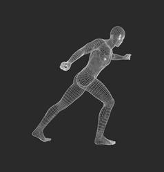 Fighter 3d model of man human body sport symbol vector