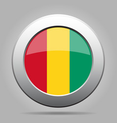 Flag of Guinea Shiny metal gray round button vector