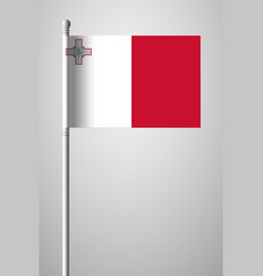 Flag of malta national flag on flagpole isolated vector
