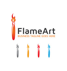 Flame art logo design vector