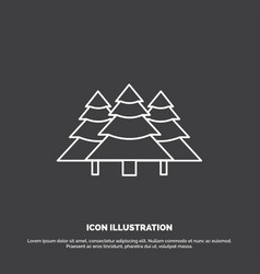Forest camping jungle tree pines icon line symbol vector