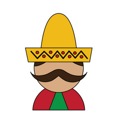 funny mexican man with hat and mustache cartoon vector image