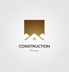 gold construction house home rologo icon vector image