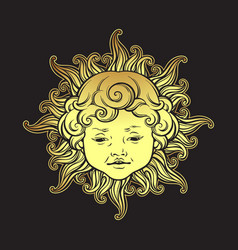 Gold sun with face of cute curly smiling baby boy vector