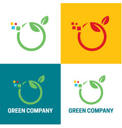Green company icon and logo vector