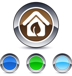 Green home round button vector