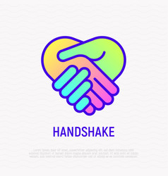 Handshake thin line icon with gradient vector