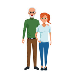 Happy couple together icon colorful flat design vector