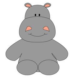 Happy hippopotamus on white background vector