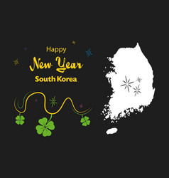 Happy new year theme with map of south korea vector