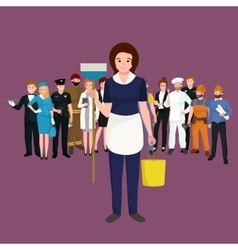 Housewife girl homemaker cleaning woman Peoples vector