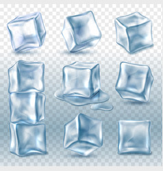 ice cubes 3d ice piece various angles vector image
