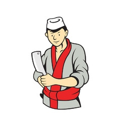 Japanese butcher holding meat cleaver knife vector
