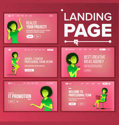 landing set page business agency web page vector image