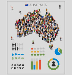 large group people in form australia map vector image
