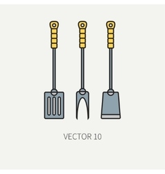 Line color kitchenware icons fork furcula vector