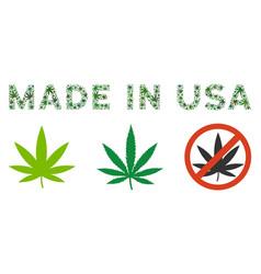 Made in usa caption mosaic of marijuana vector