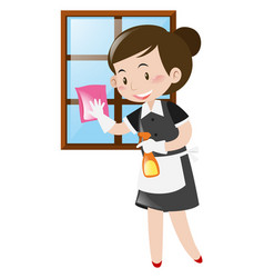 Maid cleaning window with cloth vector