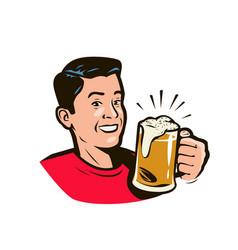 man holding beer mug cartoon vector image