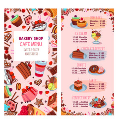menu template for bakery shop desserts vector image