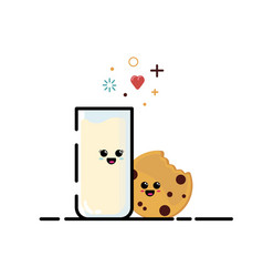 milk and cookie vector image
