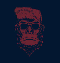 Monkey in baseball cap and sunglasses design vector