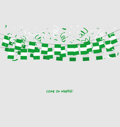 nigeria garland flag with confetti vector image