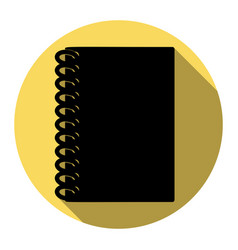 notebook simple sign flat black icon with vector image