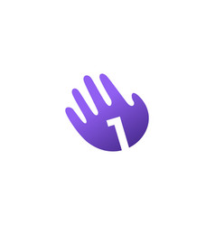 Number one 1 hand palm hello logo icon vector