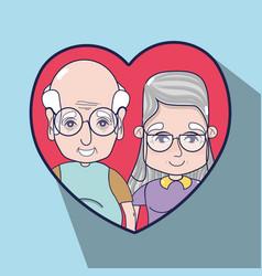 Old people inside of heart design vector