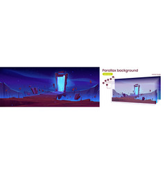 Parallax background with magic portal on mountain vector
