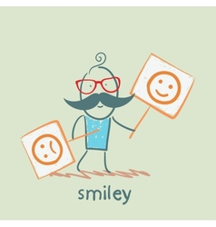 People holding posters with funny and sad smiles vector