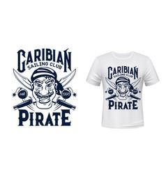 Pirate t-shirt print mockup sailing sport club vector
